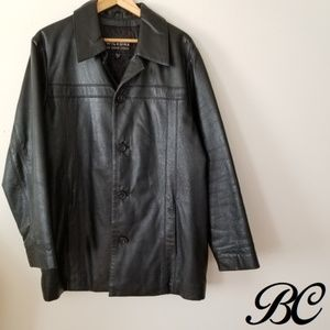 Vintage Wilsons Leather Jacket Black Button Up 80s